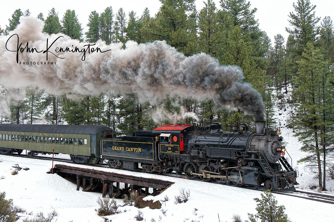 Grand Canyon Railroad Engine #29 at Coconino Canyon, Arizona