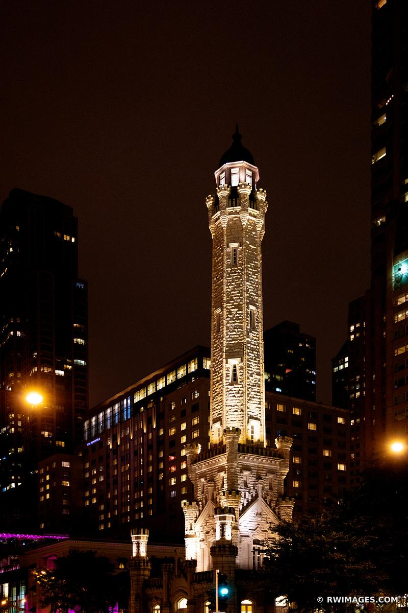 WATER TOWER MICHIGAN AVENUE CHICAGO DOWNTOWN NIGHT STREET VIEW CHICAGO LANDMARK CHICAGO ILLINOIS COLOR VERTICAL