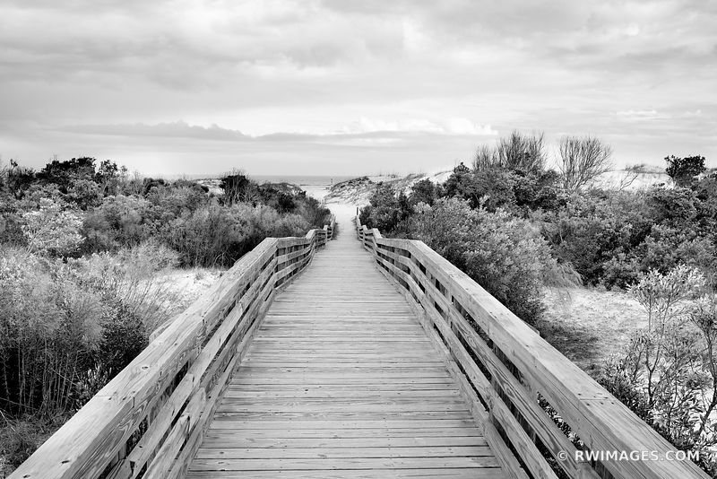 SEACAMP BEACH BOARDWALK CUMBERLAND ISLAND GEORGIA BLACK AND WHITE