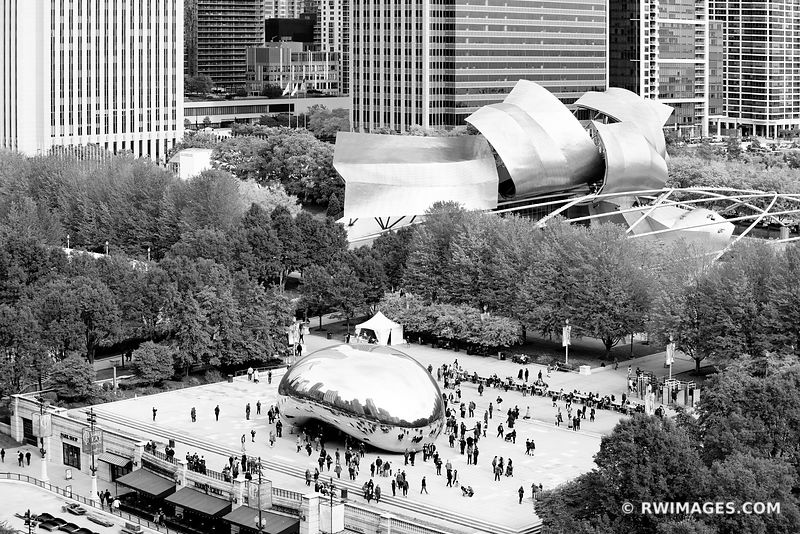 MILLENIUM PARK CLOUD GATE THE BEAN AERIAL VIEW CHICAGO ILLINOIS BLACK AND WHITE