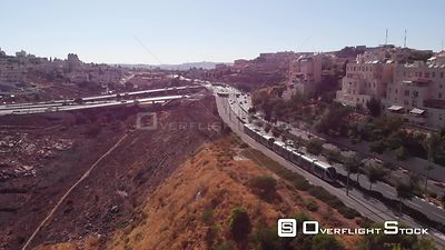 Drone Over Light Rail in Pisgat Zeev Jerusalem