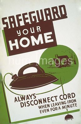 Safeguard your home - always disconnect cord when leaving iron even for a minute ca. 1940