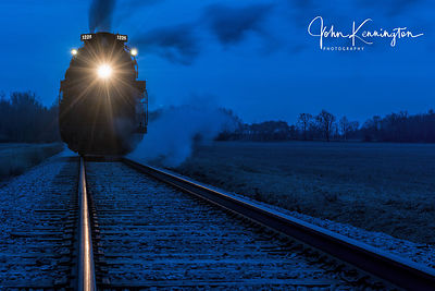 Pere Marquette #1225 on the Tracks Before Dawn, near Owosso, Michigan