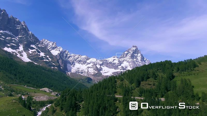 Aerial view of Mount Cervino Matterhorn in the Italian Alps