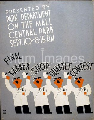 Final barber shop quartet contest presented by Park Department on the Mall, Central Park Sept. 10, 8:15 p.m. ca. 1936