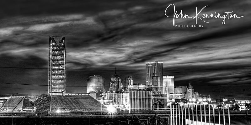 Oklahoma City Skyline Panoramic (BW)