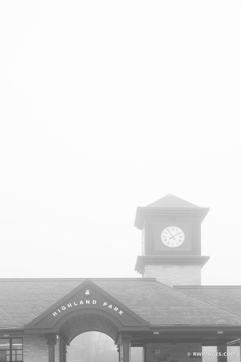 METRA STATION HIGHLAND PARK ILLINOIS CHICAGO NORTHSHORE SUBURBS CHICAGOLAND WINTER FOG VERTICAL BLACK AND WHITE