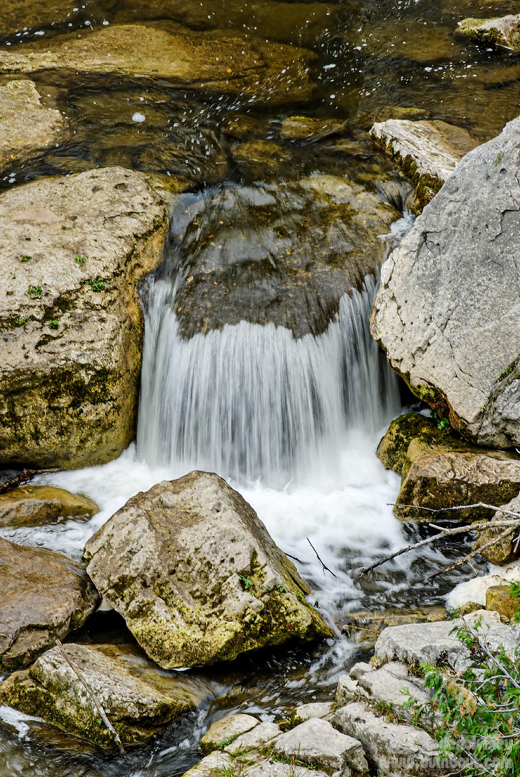 flowing water over rock
