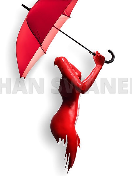 Red Painted Body with Umbrella