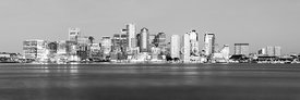 Panoramic Boston Skyline High Resolution Black and White Photo