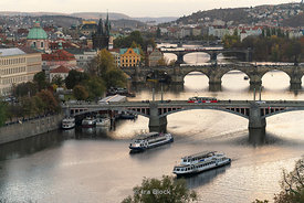 A view of the Vltava river and bridges as seen from Letna Park  in Prague, Czech Republic