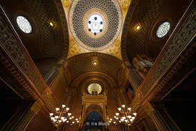 A view of the decor inside the Spanish synagogue in the Jewish quarter in Prague, Czech Republic