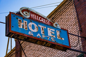 Sign for Hillcrest Hotel & Apts. in Helper, Utah