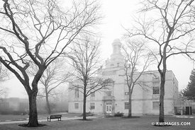HIGHLAND PARK CITY HALL HIGHLAND PARK ILLINOIS CHICAGO NORTHSHORE SUBURBS CHICAGOLAND WINTER BLACK AND WHITE