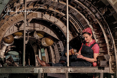 Rosie the Riveter Taking a Break at the Willow Run Bomber Plant No. 10, Belleville, Michigan