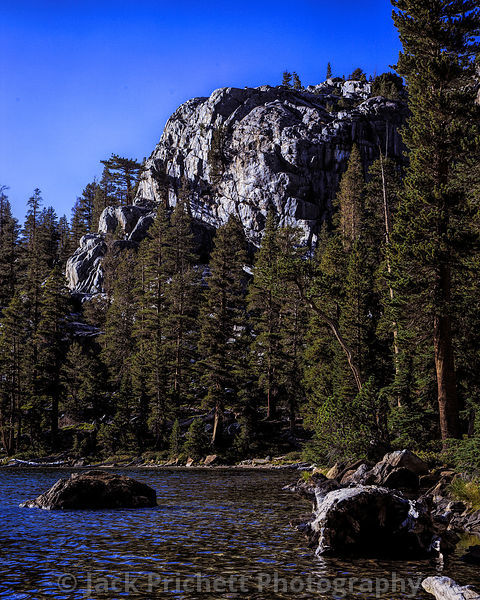 Rosalie Lake and rock cliffs, high Sierra