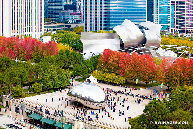 MILLENIUM PARK CLOUD GATE THE BEAN AERIAL VIEW CHICAGO ILLINOIS AUTUMN FALL COLORS