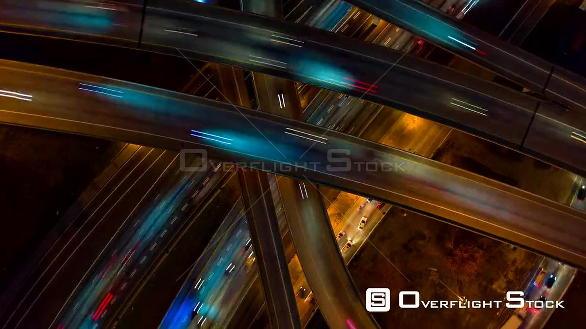 Atlanta Aerial Vertical night view ascending rotating hyperlapse over interchange