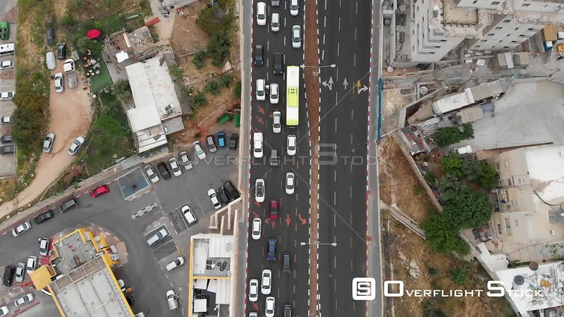 Aerial View of North Jerusalem Traffic in Pisgat Zeev Settlement