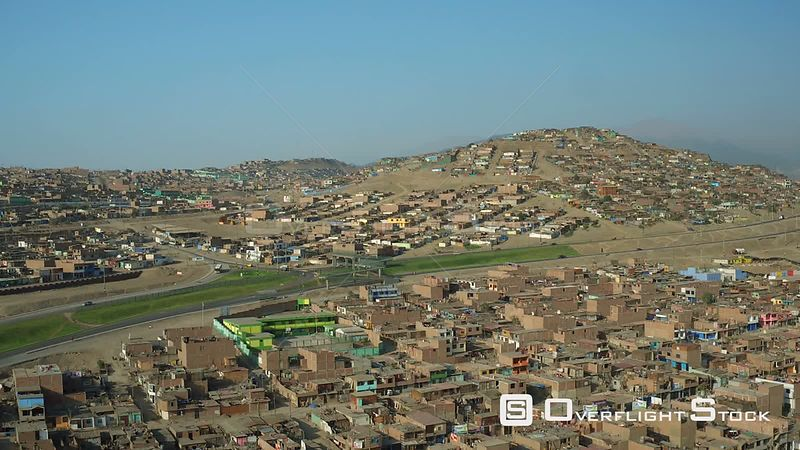 Ventanilla  Peru  Flying low over urban poverty hillside housing area in Mi Peru.