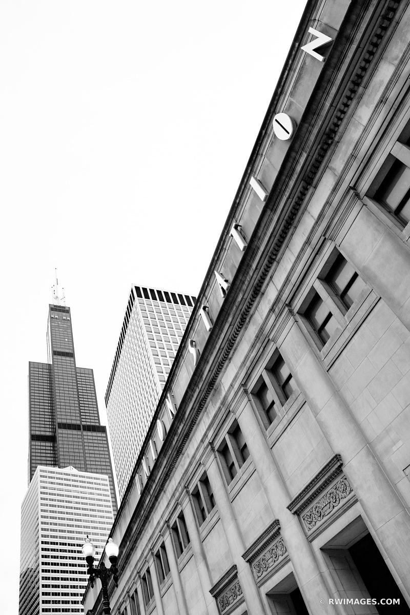 UNION STATION AND WILLIS TOWER CHICAGO ILLINOIS BLACK AND WHITE VERTICAL