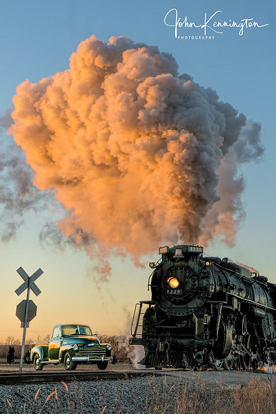 Pere Marquette #1225 Crossing at Sunset, Owosso, Michigan