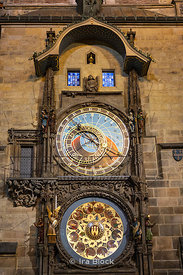 A night time view of the Prague Astronomical Clock at Old Town Square in Prague, Czech Republic