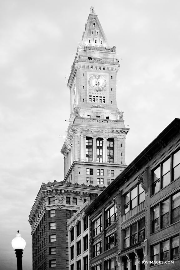 CUSTOM HOUSE TOWER BOSTON MA BLACK AND WHITE VERTICAL