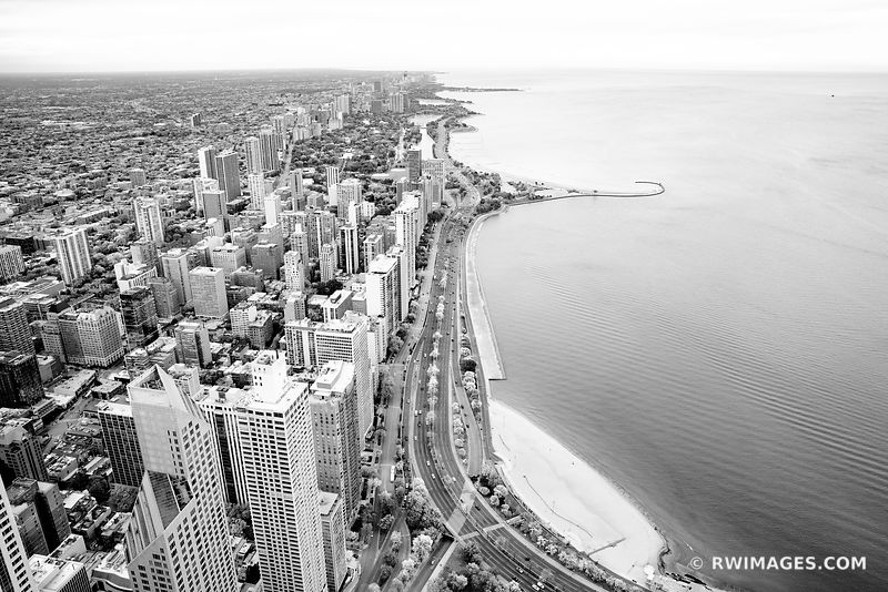 LAKE SHORE DRIVE CHICAGO DOWNTOWN AERIAL VIEW CHICAGO ILLINOIS BLACK AND WHITE
