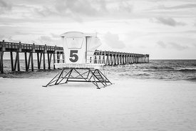 Pensacola Pier and Lifeguard Station 5 Black and White Photo