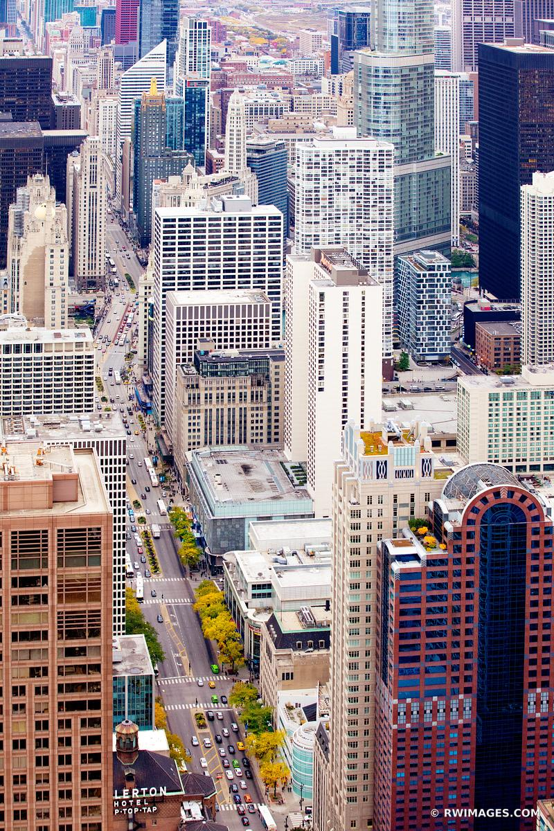 MICHIGAN AVENUE CHICAGO DOWNTOWN AERIAL VIEW CHICAGO ILLINOIS