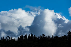 Mount Shasta Peaking through Winter Clouds
