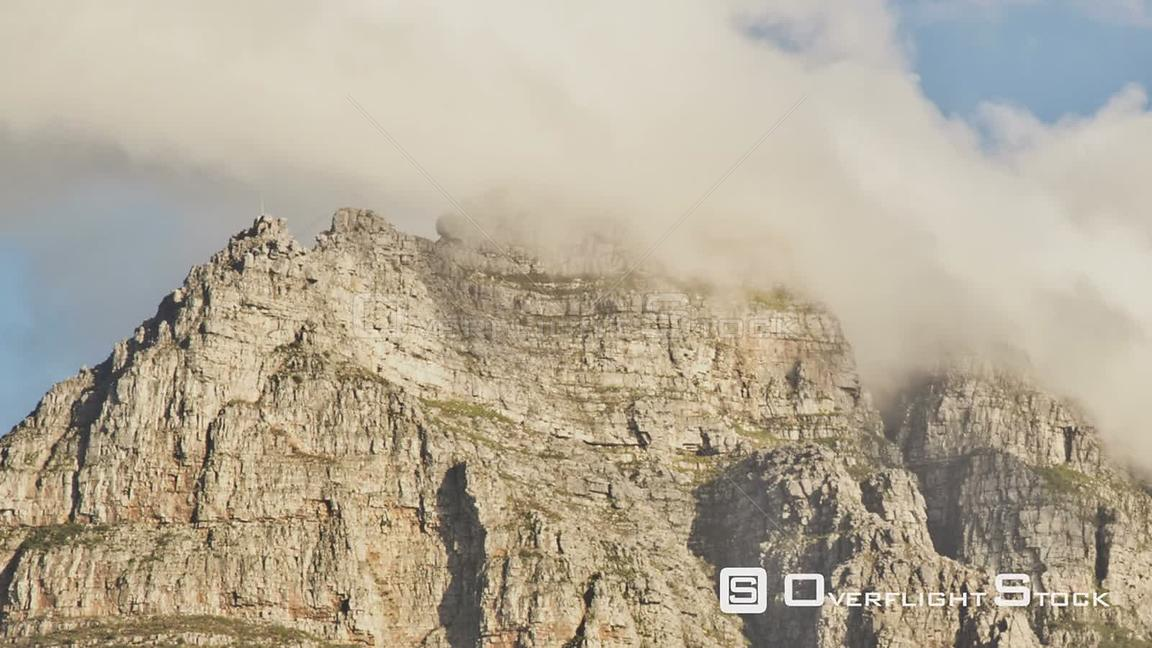 South Afirca Beautiful panning time lapse clip of cloud cover passing over Table Mountain in South Africa.