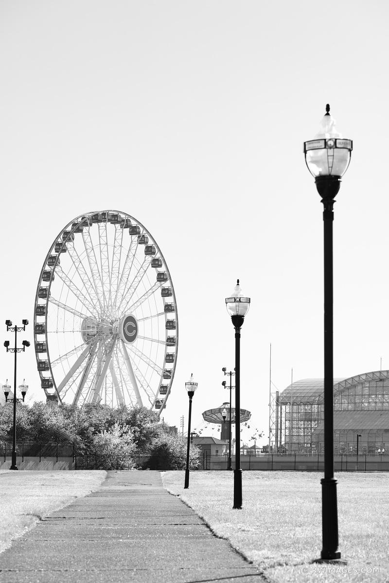 NAVY PIER FERRIS WHEEL MILTON LEE OLIVE PARK CHICAGO ILLINOIS BLACK AND WHITE