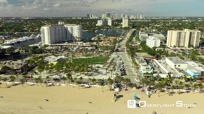 Aerial Drone Footage Fort Lauderdale Florida View from Sand