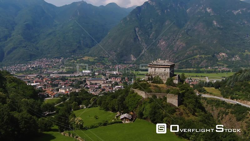 Aerial view of a typical village of the region of Aosta valley in the Italian Alps
