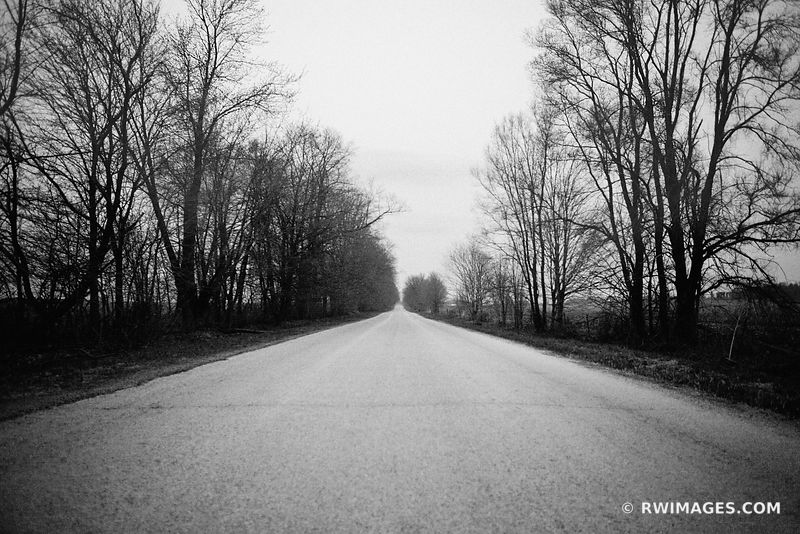 COUNTRY ROAD APRIL EVENING IN THE MIDWEST BLACK AND WHITE