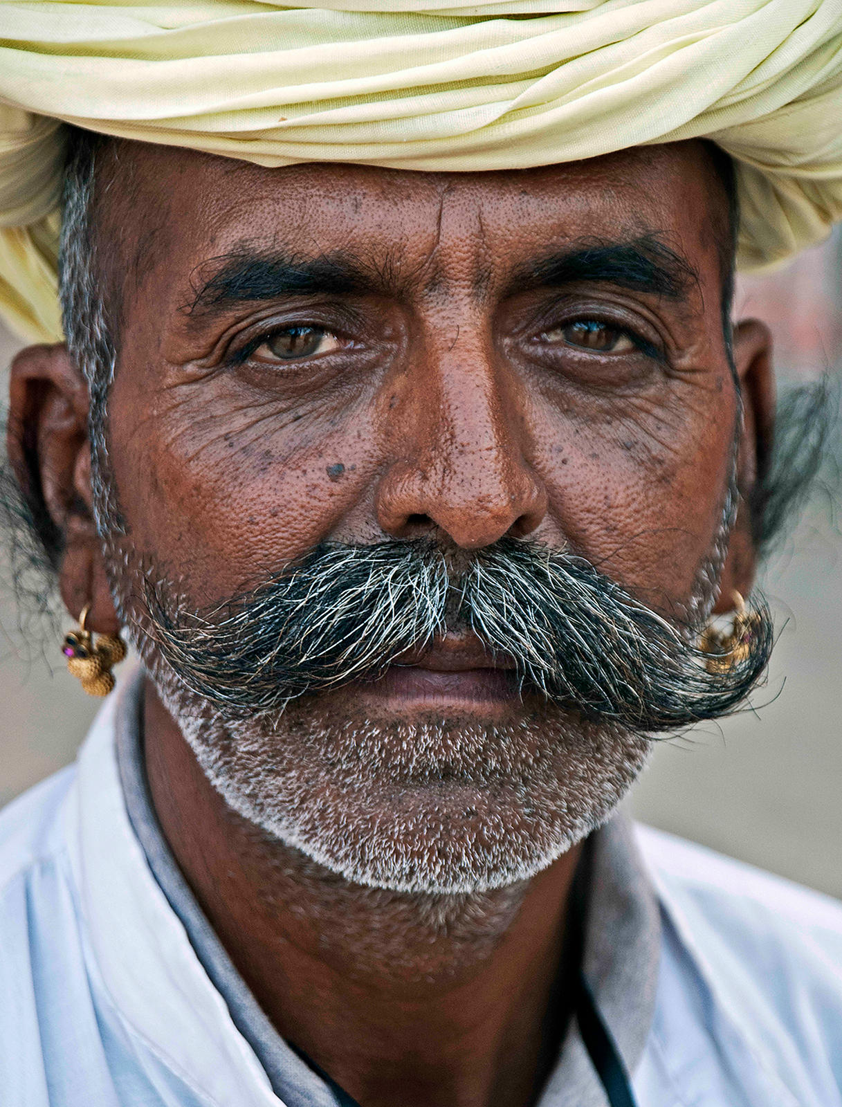 Portrait of a Rural Rajasthani Man in a Turban