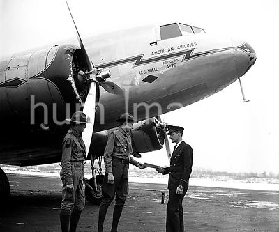 Boy Scouts at Hoover Airport with American Airlines Airplane ca. January 1935