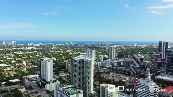 Lateral motion aerial video Downtown Fort Lauderdale FL