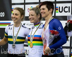 Women C4 Pursuit Podium. 2020 UCI Para-Cycling Track World Championships, Day 3 Afternoon Session, February 1, 2020