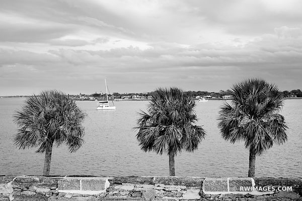 MATANZAS RIVER FROM CASTILLO DE SAN MARCOS ST. AUGUSTINE FLORIDA BLACK AND WHITE