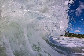 Inside a crashing ocean wave