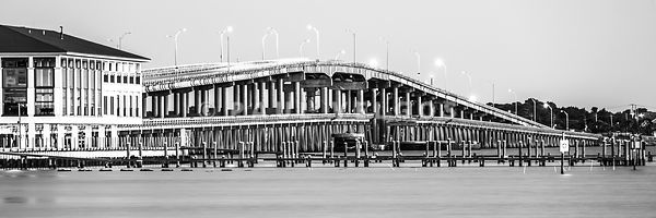 Pensacola Beach Sikes Bridge Black and White Panoramic Photo