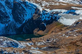 Small Glacier with Alpine Lake along Beartooth Highway