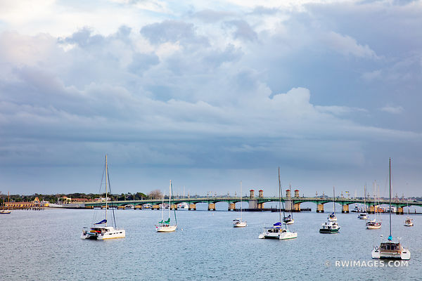 SAILBOATS MATANZAS RIVER BRIDGE OF LIONS ST. AUGUSTINE FLORIDA