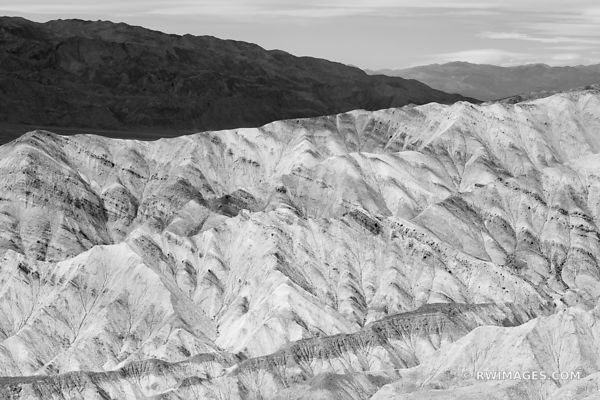 COLORFUL BADLANDS NEAR ZABRISKIE POINT DEATH VALLEY CALIFORNIA AMERICAN DESERT SOUTHWEST LANDSCAPE BLACK AND WHITE