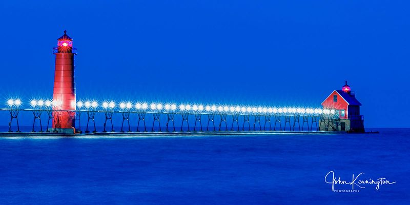 Grand Haven South Pierhead Light at Blue Hour Panoramic, Lake Michigan, Grand Haven, Michigan
