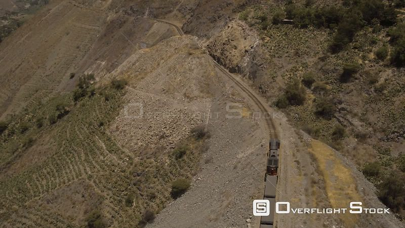 Peru Flying over train panning in Huarochiri Province