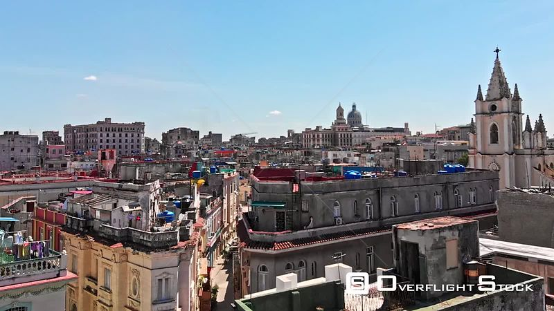 Cuba Havana Very low birdseye of colorful rooftop neighborhood view
